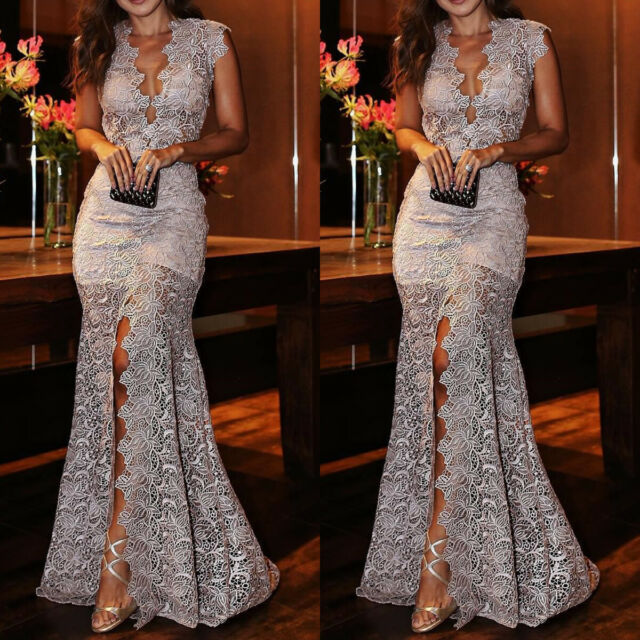 Women Lace Slim Maxi Long Dress Bridesmaid Evening Party Cocktail Prom Ball Gown