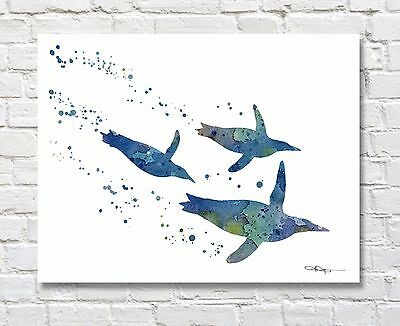 """Humpback Whale Abstract Watercolor 11/"""" x 14/"""" Art Print by Artist DJ Rogers"""