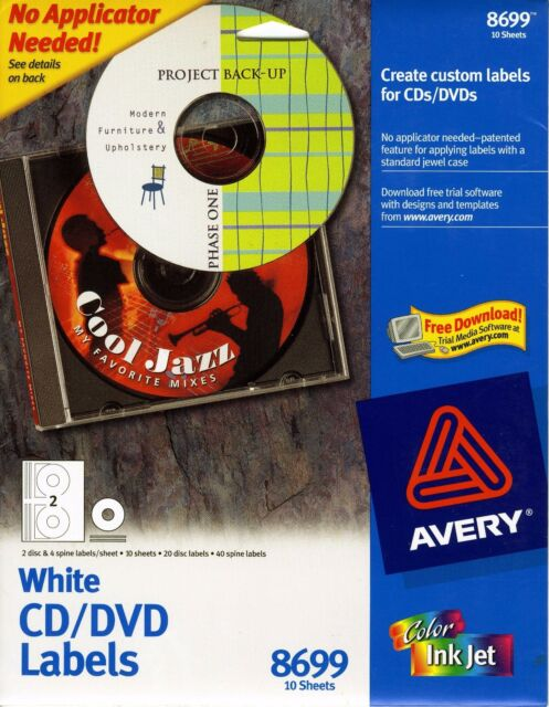 avery matte white cd labels for inkjet printers 20 face 40 spine