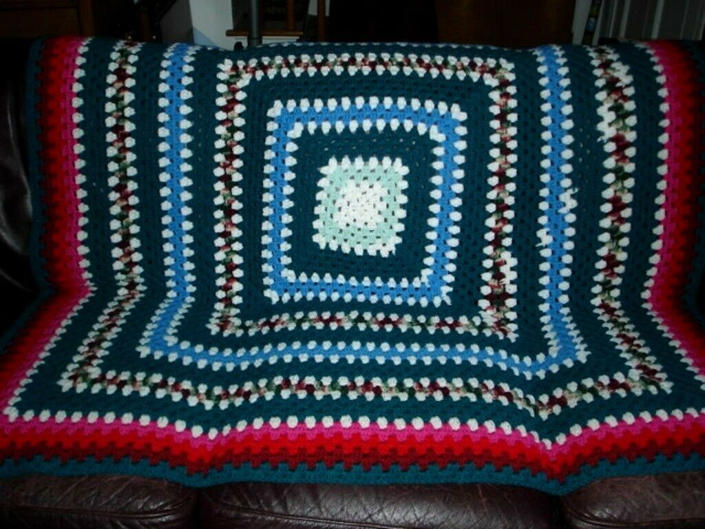Hand Crochet Afghan Blanket Throw Multi-color bluee Green Red Pink 56 x 55  EUC