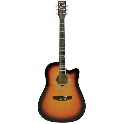 Disciplined Chord Cw26ce Electro Acoustic Guitar Acoustic Electric Guitars Guitars & Basses Sunburst Nourishing The Kidneys Relieving Rheumatism