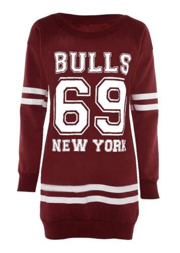 Neu Damen Ebene Wein Brooklyn Stiere New York Gedruckt Jumper Sweatshirts 36-50