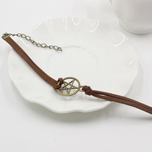 Nouveau Bracelet Inspiré Retro Bronze Pentagram Pendentif Marron Corde Bracelet