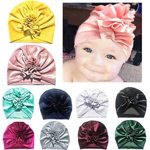 Mädchen Jungen Kleinkind Soft Samt Blumen Mütze Baby Turban Hat Beanie Hut Cap