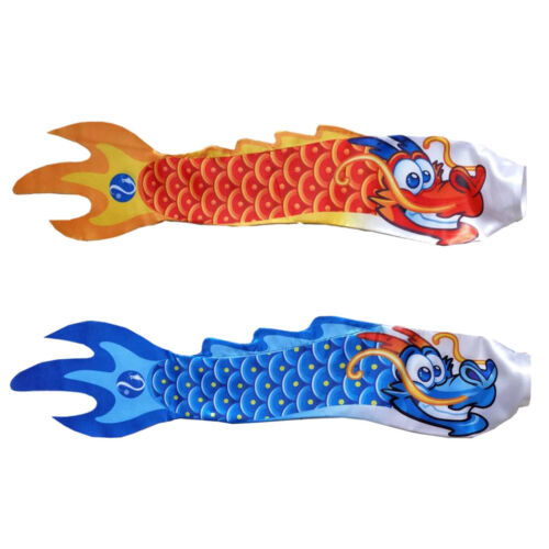 2x Red Blue Chinese Dragon Streamer Windsock Flag Outdoor Wind Spinner Kite