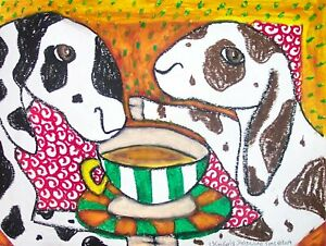 NUBIAN-Drinking-Coffee-Dairy-Goat-Outsider-Pop-Vintage-Art-8-x-10-Print-Signed