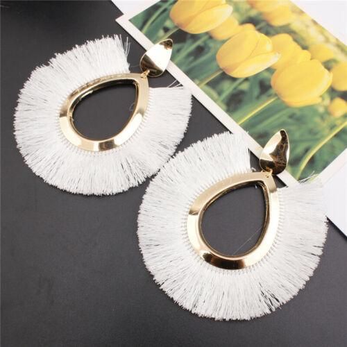 Women Fashion Bohemian Sector Earrings Tassel Fringe Retro Boho Dangle Jewelry
