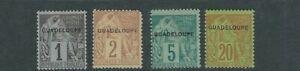 Guadeloupe-1891-Briefmarken-von-Franzoesisch-Farben-Ovptd-Sc-14-15-17-20-F