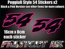 Poggialli 54 Decal Sticker x2 Bicicleta de casco de Moto GP Racing Portátil Coche Scooter Rosa