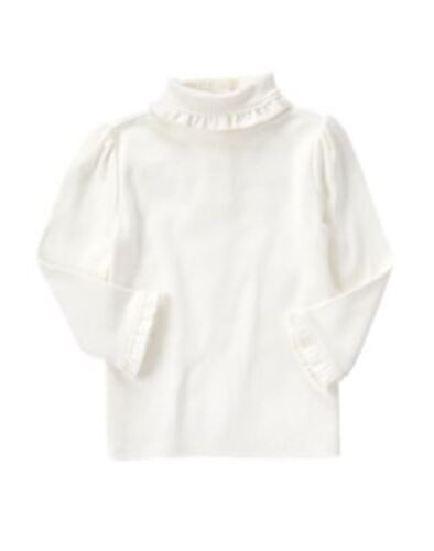 NWT Crazy 8 STAY TOASTY Basic Ivory L//S Mock T-Neck Shirt Top