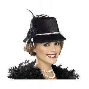 Image is loading Flapper-Hat-for-Adult-Roaring-20s-Womens-Costume- 033a3657f9d