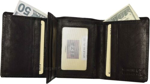 FIZA NY Leather men/'s trifold wallet10 Credit Cards black 2 billfolds wallet BN