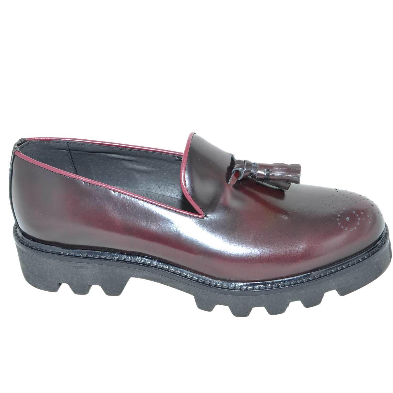 Calzature uomo scarpe art.323 mocassino abrasivato lucido bordeaux con bon-bon f