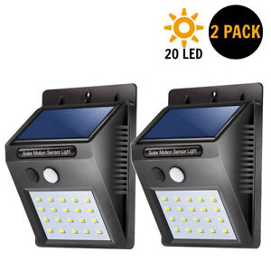 Details About Waterproof 20 Led Solar Power Pir Motion Sensor Wall Light Outdoor Garden Lamp