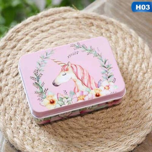 Small Metal Tin with Lid Storage Box Unicorn Seeds Man Nuts Bolts Kids Container