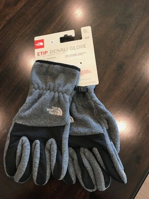 New North Face Mens Etip Denali Gloves Charcoal Grey Heather MSRP: NWT