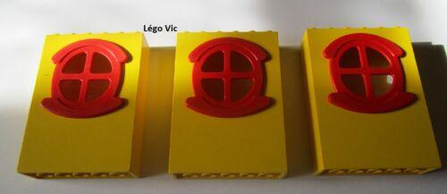 Lego Fabuland x635c01 x3 Window Fenêtre Yellow Jaune Red rouge du 3678 3667 F23