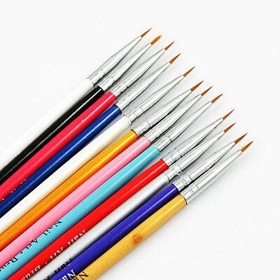 12 Pcs Colorful Nail Art Design Brush Pen Fine Details Tips Drawing Paint Set LW