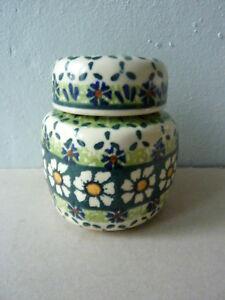 """boite, pot couvert en céramique, décor fleurs, marque Wiza, Hand Made, Poland - France - Commentaires du vendeur : """"trs bon état"""" - France"""