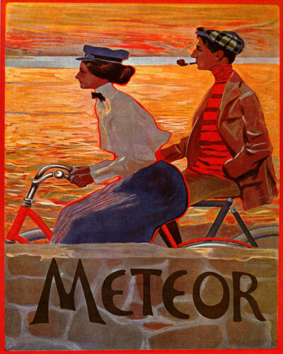 POSTER FASHION COUPLE RIDING METEOR BICYCLE BIKE CYCLE VINTAGE REPRO FREE S//H