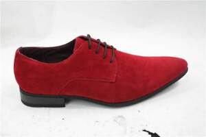 mens laced smart casual suede shoes red green black grey