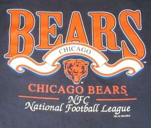 Vtg-90-039-s-Chicago-Bears-Logo-T-Shirt-Size-Medium-Large-USA-Made-Locker-Line