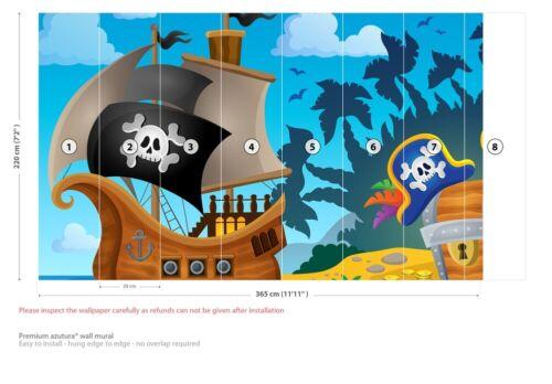 Jolly Roger Pirate Ship Wall Mural Wallpaper WS-42671