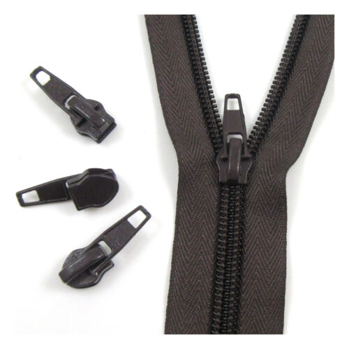"""No.5 CONTINUOUS ZIP /& AUTO LOCK SLIDER /""""25 COLOURS/"""" ZIPPERS CUSHIONS UPHOLSTERY"""