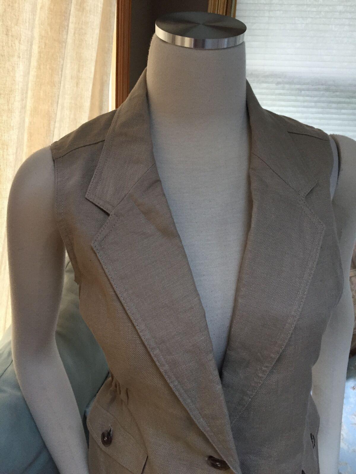 NWOT NWOT NWOT The Limited Safari Natural Tan Khaki 100% Linen Vest Small 414681