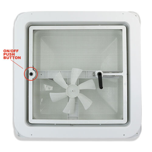 "14/"" RV Roof Vent Kit w// Butyl Tape roof caulk and w//12 Volt Fan white Lid"
