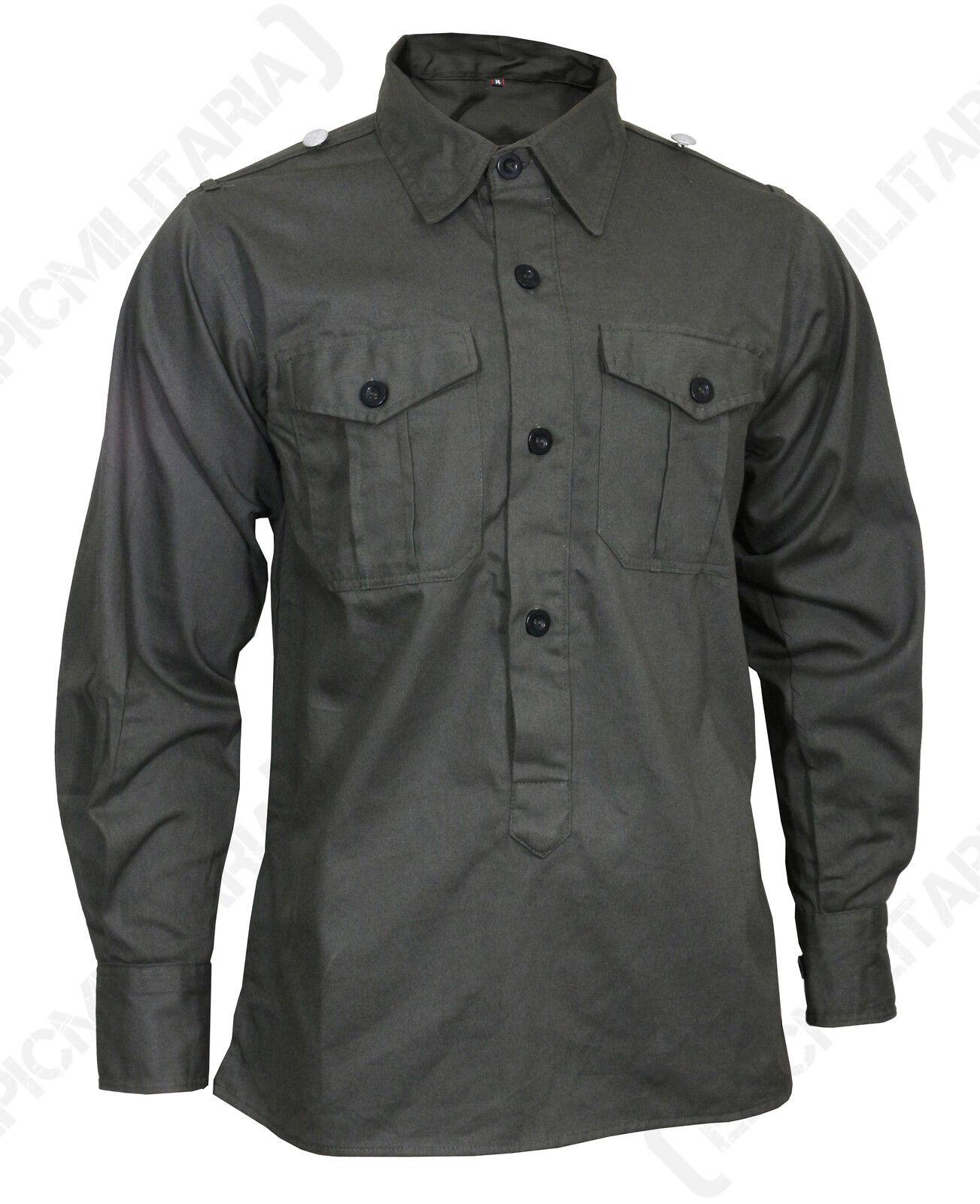 German Army MILITARY Field SHIRT Hemden - All Sizes Field Grey Cotton WW2 Repro