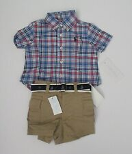 NWT Ralph Lauren Infant Boys SS Bear Graphic Tee /& Cargo Short Set 3m 6m 9m NEW