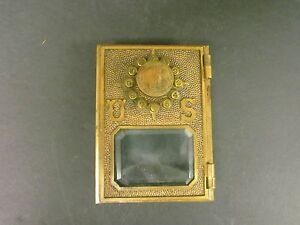 Antique-Yale-Push-Button-1-Post-Office-Postal-Box-Door-Front-w-Beveled-Glass