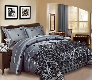 3pc damask bedspread size king double silver black white burgundy blue sale ebay. Black Bedroom Furniture Sets. Home Design Ideas