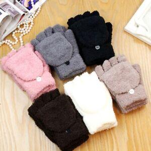 1 Pair Ladies Womens Soft Angora Wool Thumb Hole Half Fingerless Winter Gloves