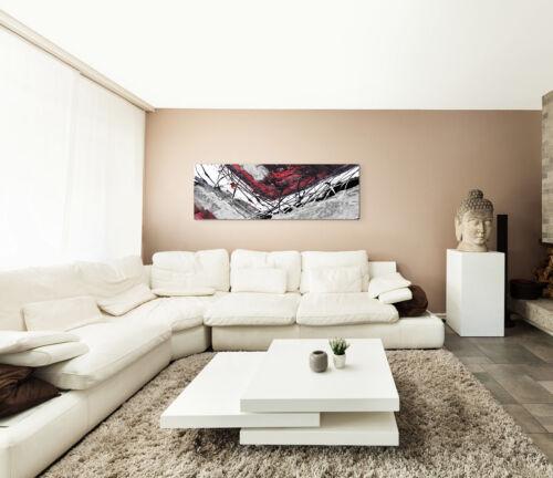 Leinwandbild Panorama rot schwarz grau weiß Paul Sinus Abstrakt/_764/_150x50cm