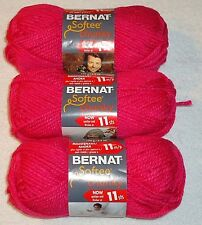 Bernat Softee Chunky Yarn Lot Of 3 Skeins (Hot Pink #28416)