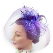 Fascinator - Flower Net Mesh Hair Clip (Purple)