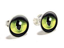 Cat Green Eye Novelty Silver Plated Stud Earrings