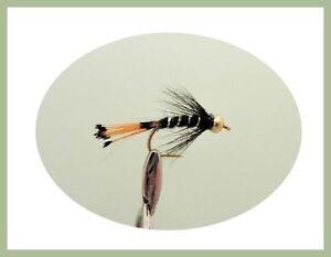 10//12 Black /& Silver Gold head Nymph Trout Flies 12 Pack Zulu Black Pennell