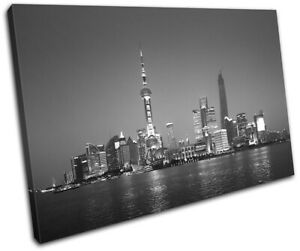 Shanghai-Skyline-China-Night-City-SINGLE-CANVAS-WALL-ART-Picture-Print