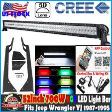 5D 52inch 700W CREE RGB LED Light Bar +2x Mount Bracket Fits Jeep Wrangler 87-95