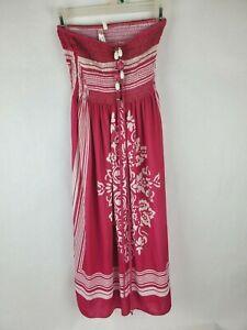 Cristina-Love-Womens-Dress-Sz-S-Sm-Tube-Halter-Boho-Pink-White-Floral-Beads
