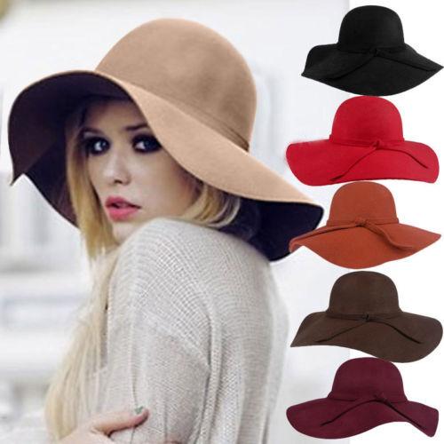 Women Lady Floppy Wide Brim 65%Wool Felt Fedora Cloche Hat Cap Cool