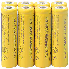 8pcs 18650 3.7V 9800mAh Yellow Li-ion Rechargeable Battery Cell For Torch