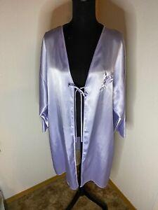 Vintage-Eve-Stillman-Wet-Look-Polyester-Satin-Tie-Front-Robe-Blue-Size-Large
