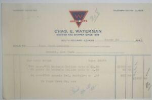 1931-Billhead-Illinois-South-Holland-Chas-Watermann-Onion-Sets-Page-Seed-Greene