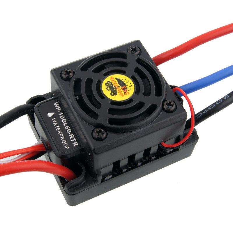 Radio Control Impermeable HSP 37017 Brushless ESC WP-10BL60-RTR 60 A circuito eliminador de batería 6V 2A 2-3S Lipo