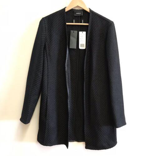 Le Noir Ouvert 10 Nwt3990 Femme Cardigan Sur Veste Natty Akris Devant En Lin kZOTPXiu