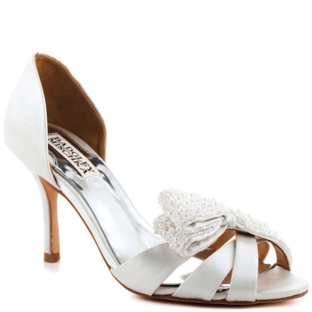 New in Box Badgley Mischka Vita d'Orsay Mariage Talons Hauts Sandales Bout Ouvert Chaussures Blanc 7,5